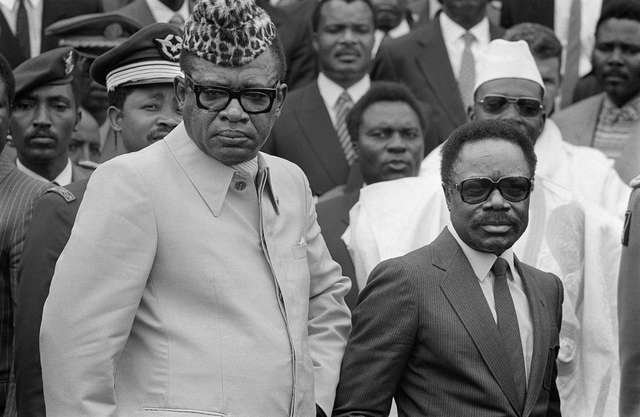 (FILES) this picture taken on December 10, 1984 in Bujumbura shows Gabonese president Omar Bongo (R) and President of Zaire Mobutu Sese Seko (L) attending the 11th Franco-African summit. Africa's longest-serving ruler, Gabon President Omar Bongo Ondimba, who was being treated for an illness in a Spanish clinic, has died aged 73, a French government source said on June 7, 2009. afp photo GEORGES GOBET